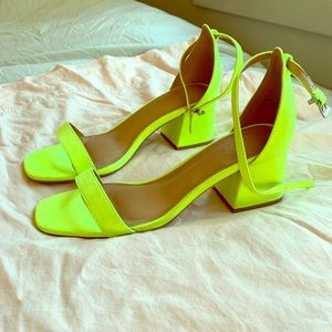 Neon yellow low strappy heels